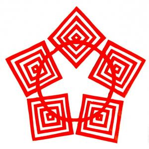 四角・切り紙・5つ折りの切り紙
