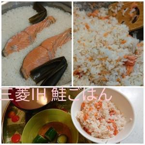 コンロのグリルで炊飯!鮭ご飯 三菱IHクッキングヒーター びっクリアオーブン CS-G34VS グリルディッシュバリエ カリム鍋つかみ