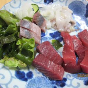 東京自宅にて食す「岩ガキ、生のクロマグロ&シロイカ」の刺身の夕食
