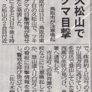 鳥取県庁裏手の「久松山」にクマ現る