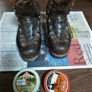 「皮革製山靴のメンテナンス」