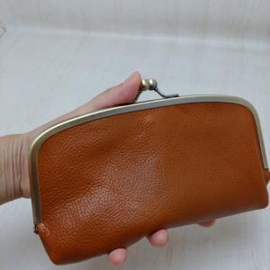 定番商品❤️革×リバティの親子がま口財布