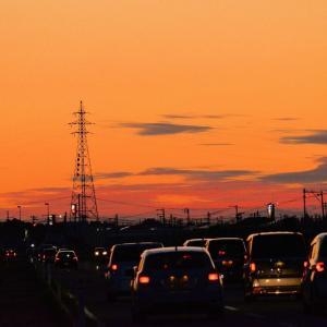 横山金足線夕景・コスモスロードから新国道へ