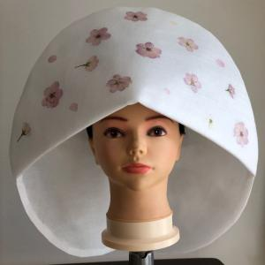 綿帽子に押し花体験、心がhappy気分~