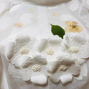 和紙花と押し花のコラボ