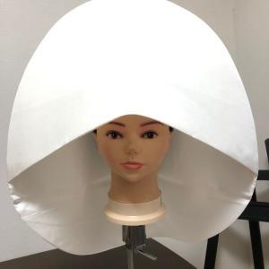 和婚スタジオ撮影カメラマンさん必見、正絹でも優れものの綿帽子補正器具。