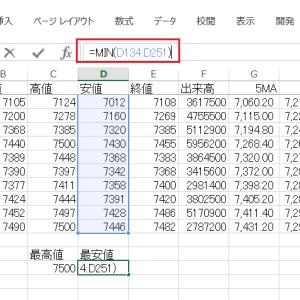 エクセルでチャートにフィボナッチ級数ラインを追加する その16