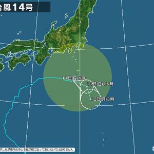 台風の影響で1日中『雨』の10月10日の土曜日