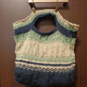 麻混の3色で棒針編みの手提げ袋