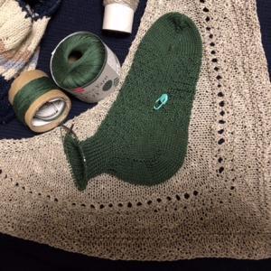 レース糸20番で手編みソックス,ひと玉で足首のゴム編みまで足りた
