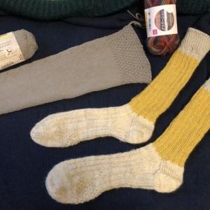 【手編み】着圧レッグウォーマー(リサイクルコットン糸)&ウール靴下🧦