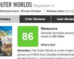 宇宙版フォールアウト『アウターワールド』海外レビュー「恐ろしくリプレー性が高く、驚くほど中毒性がある」「『Fallout』よりも『Fallout』らしいゲーム」メタスコアは86点!!