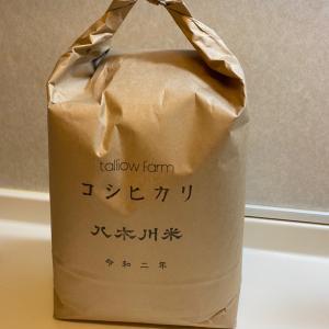 寒い朝に玄米の準備。