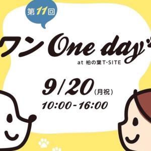 <予告> 第11回 ワンOneday at 柏の葉T-SITE 【イベント情報】 2021年9月20日(月祝)開催予定