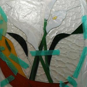 カラーの花2輪出来ました&紫陽花とコスモス(^^♪