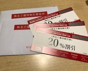 コックスから株主優待の割引券が届きました。