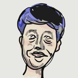 似顔絵、小籔千豊さん 「スベっても、ええ」