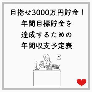 目指せ3000万円貯金!年間目標貯金を達成するための年間収支予定表