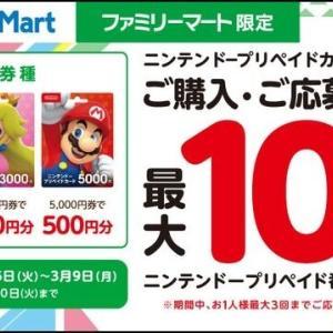 【お得】ファミマにて、ニンテンドープリペイドカードを購入・登録すると、最大10%もらえるキャンペーンをやってるよ!購入対象期間は2020年3月9日(月)まで。