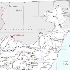 沿海地方の銅鉱床(Malakhitovoe鉱床)