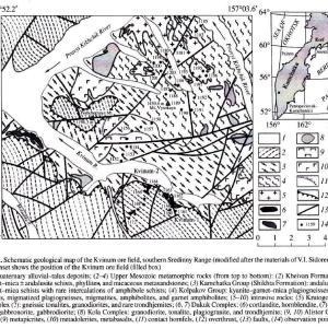 カムチャッカ地方の銅-ニッケル鉱床(Kvinum鉱床)