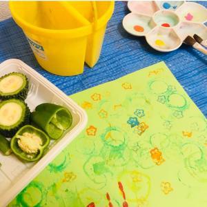 【季節の製作】ゴーヤが可愛い!野菜スタンプ