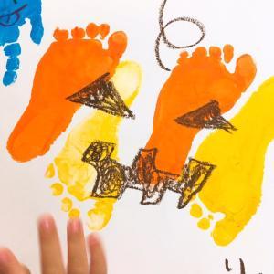 【季節の製作】ハロウィン足型カボチャ