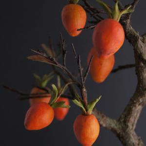 美しいビタミンカラーの盆栽柿♪(人工盆栽・bonsai)