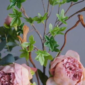 リアルなドウダンツツジと芍薬の和風アートフラワー(造花)