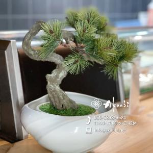 陶芸家の青白磁花器と盆栽のコラボ作品(造花/アート盆栽)