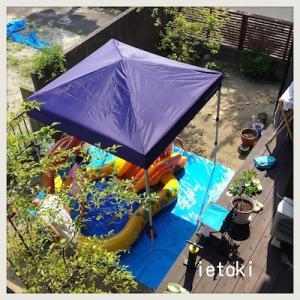 庭でプール開き