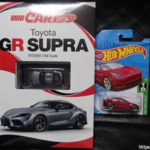 TSUTAYA限定の京商1/64 MINI CARトップ・トヨタGRスープラとテスラ・モデル3はトイザらス20%オフで