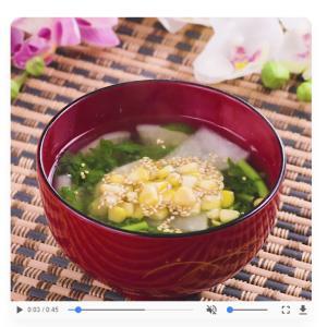 【お味噌汁レシピ】健康的なお肌に♡春菊のカラフル味噌汁