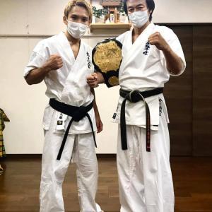 Krushチャンピオン佐々木大蔵選手が土橋の主催する空手道場『拳摯会』に稽古に来てくれました❗️