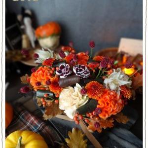 フラワー教室 * 10月『ハロウィン間近!シックなオータムカラーのアレンジ』