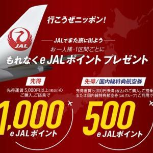 JAL国内線が実質の値下げ!搭乗キャンペーンが強烈!1区間で1,000ポイント!