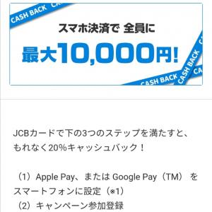 JCB、スマホ決済で20%キャッシュバック&ドンキ8%値引き(*´∀`*)