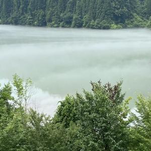 只見川の川霧「道の駅 奥会津かねやま」(福島県金山町)
