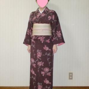 バラ柄着物に新しい博多半幅帯。