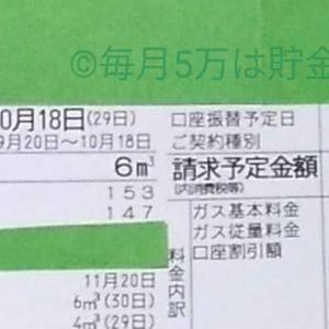 東京都内1人暮らし貧乏独身女の2019年10月のガス代。