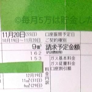 東京都内1人暮らし貧乏独身女の2019年11月のガス代。