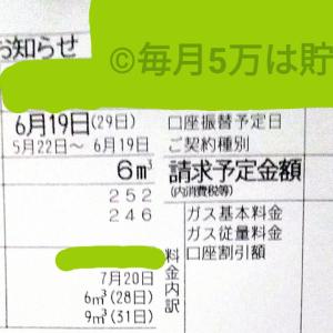 東京都内1人暮らし貧乏独身女の2020年6月のガス代。