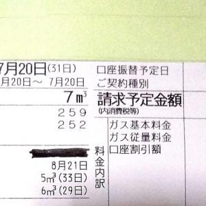 東京都内1人暮らし貧乏独身女の2020年7月のガス代。