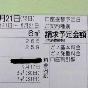 東京都内1人暮らし貧乏独身女の2020年8月のガス代。