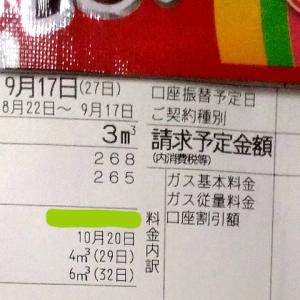 東京都内1人暮らし貧乏独身女の2020年9月のガス代。