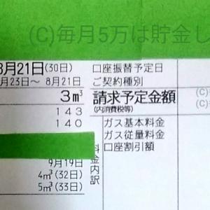 東京都内1人暮らし貧乏独身女の2019年8月のガス代。