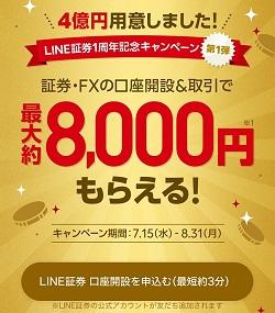 LINE証券が最大で約8,000円もらえる1周年記念キャンペーンを実施中!