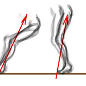 着地と膝下(GIFアニメ)