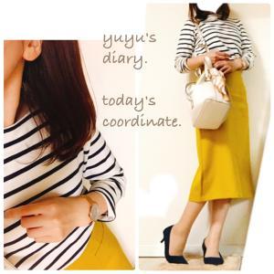 【coordinate】黄色×ネイビー×白にスカーフ追加でちょい秋コーデ