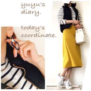 【coordinate】黄色スカート×ボーダー。ダウンベスト着納めコーデ